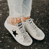 Mafulus Womens Lace up Low Top Star Pattern Sneakers