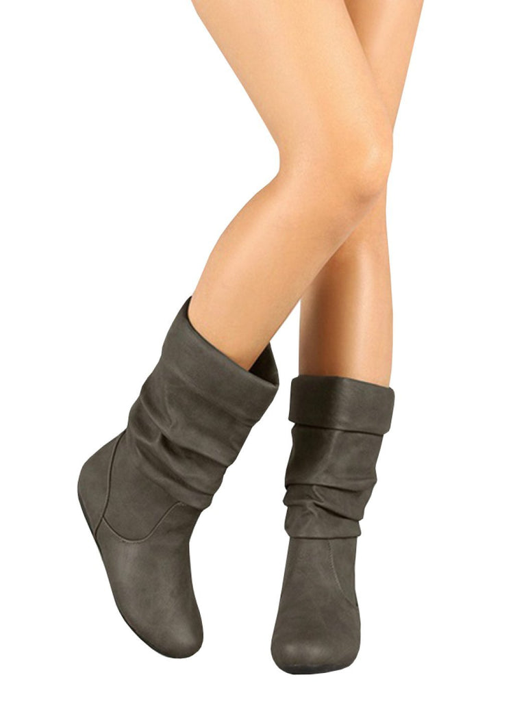 Slouchy Round Toe Under the Knee Flat Boot