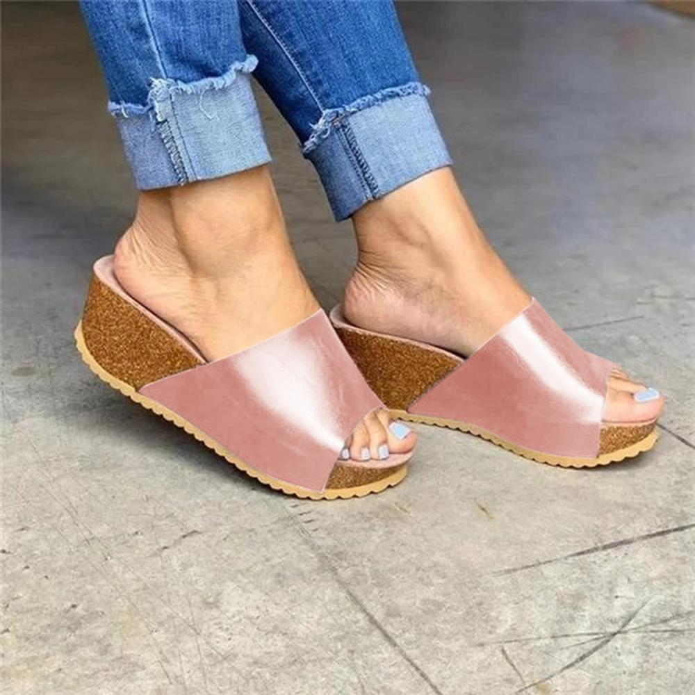Mafulus Womens Open Toe Slip On Wedge Sandals Solid Color Slides