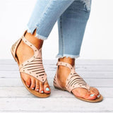 Mafulus Womens Hollow Out Back Zipper Gladiator Flat Sandals
