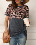 Mafulus Womens Short Sleeve Leopard Colorblock T Shirts Tops