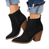 Side Zipper Pointed Toe Stacked Block Heel Ankle Boots