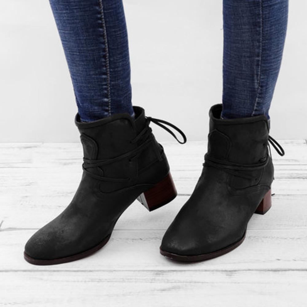 Mafulus Lace up Stacked Heels Ankle Boots