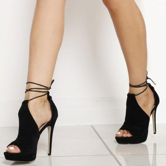 Lace Up High Heels Peep Toe Stiletto Heeled Sandals