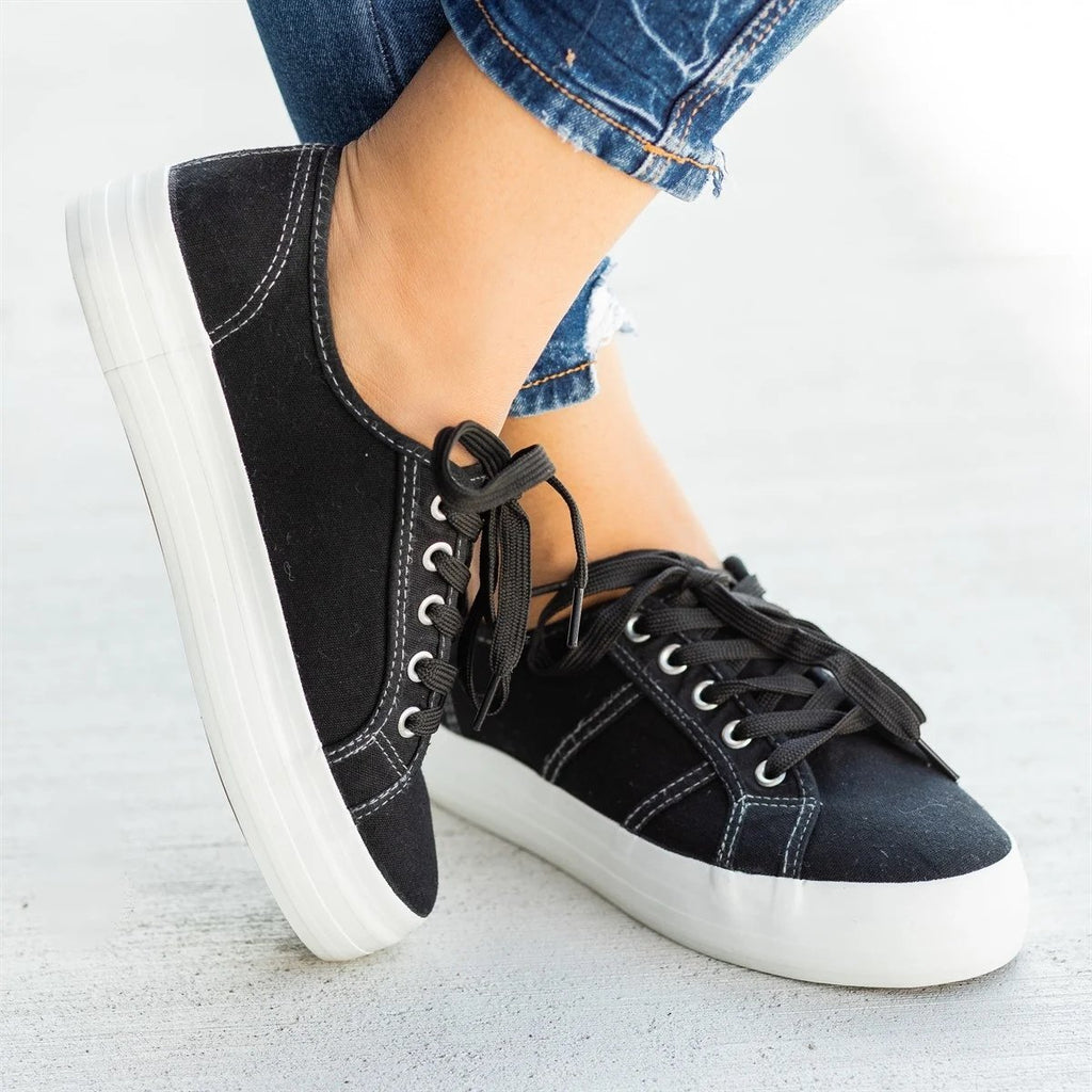Mafulus Canvas Platform Lace up Sneakers