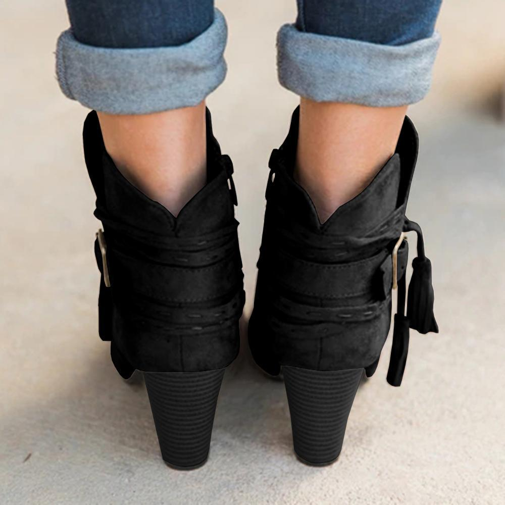 Pointed Toe Tassel Ankle Boots Stacked Block Heel Booties
