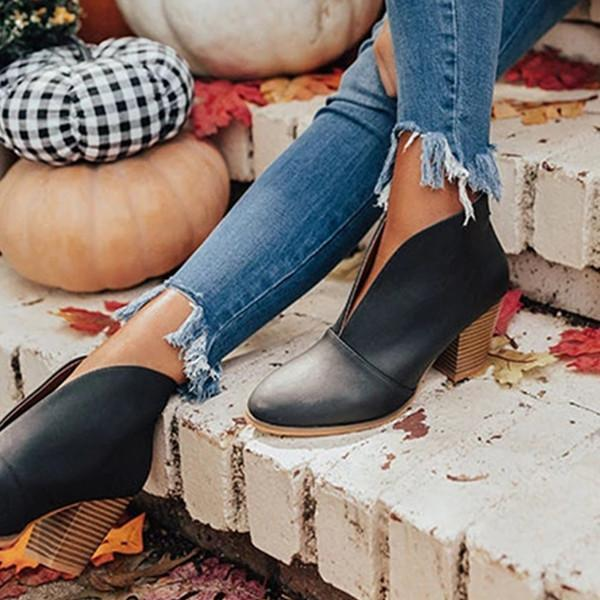 V Cutout Ankle Boots Stacked Heel Booties