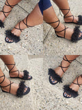 Mafulus Flat Summer Fashion Lace up Tassel Sandals