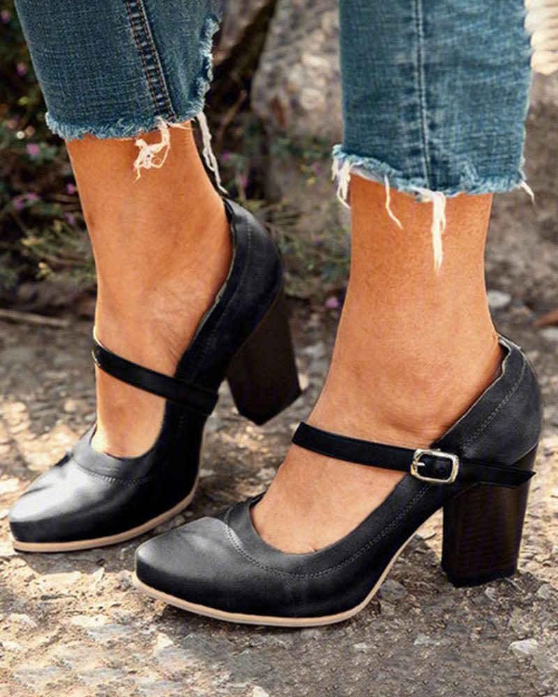 Mafulus Womens Chunky Heel Buckle Strap Ankle Boots