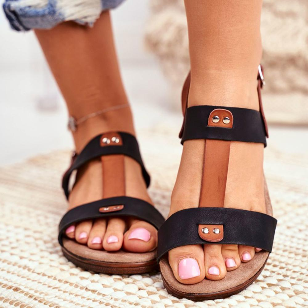 Mafulus Womens Adjustable Ankle Buckle Summer Casual Flat Sandals