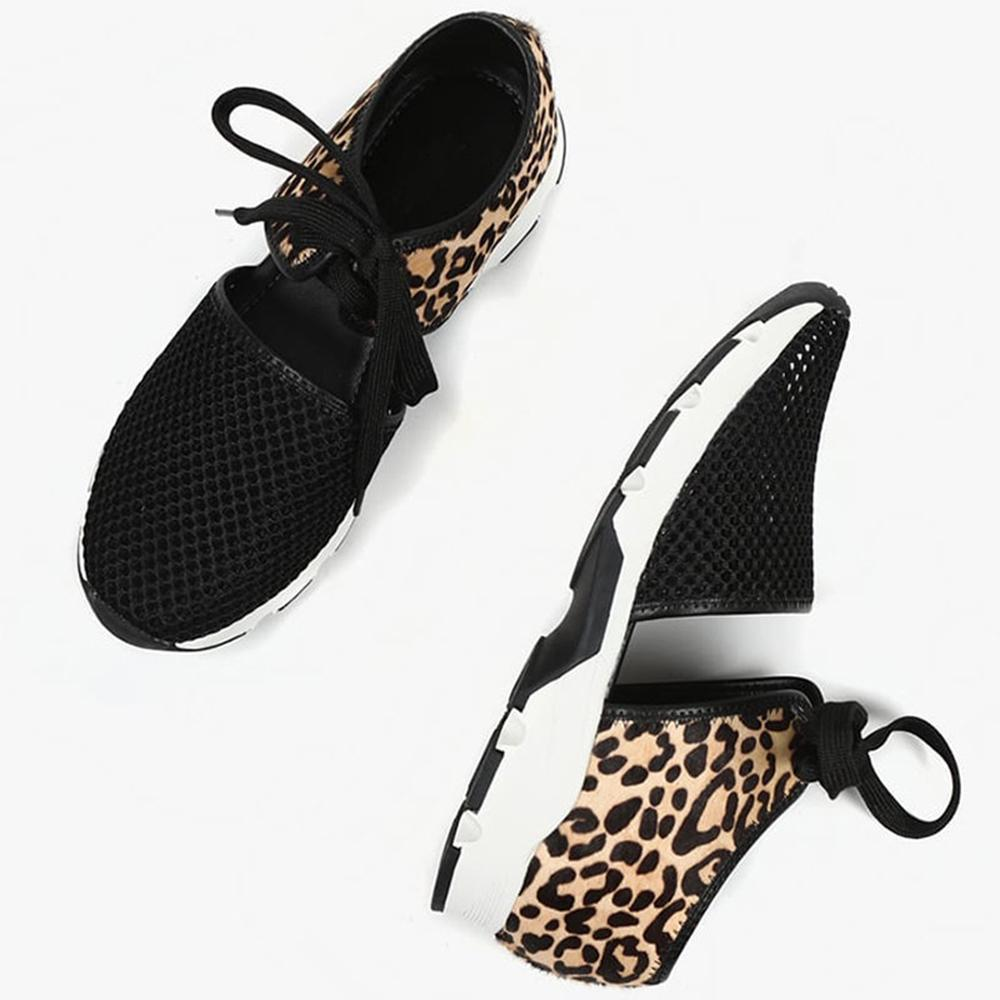 Mafulus Womens Hollow Out Animal Print Lace Up Sneakers