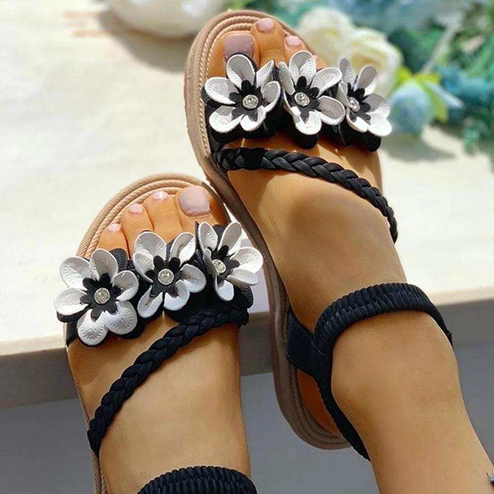 Mafulus Women Flower Embed Weave Sandals