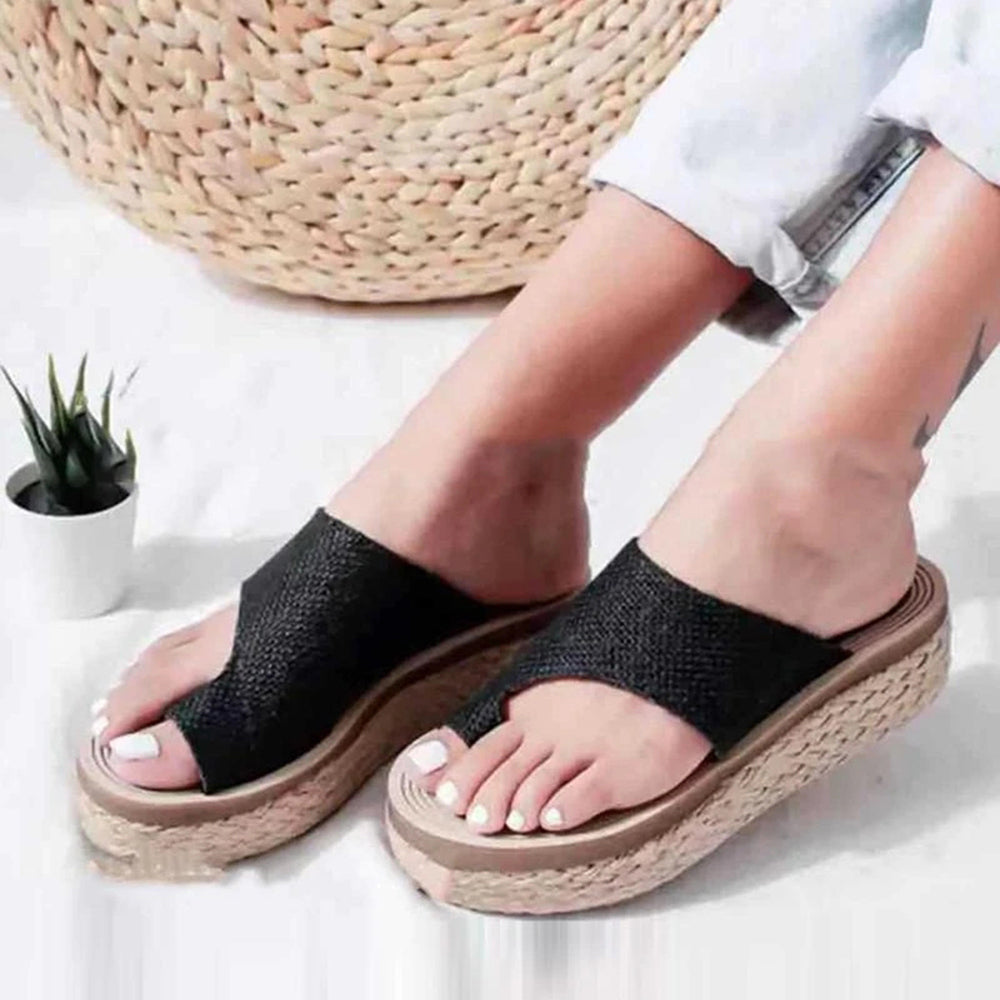 Mafulus Womens Espadrilles Toe Ring Platform Slide Sandals