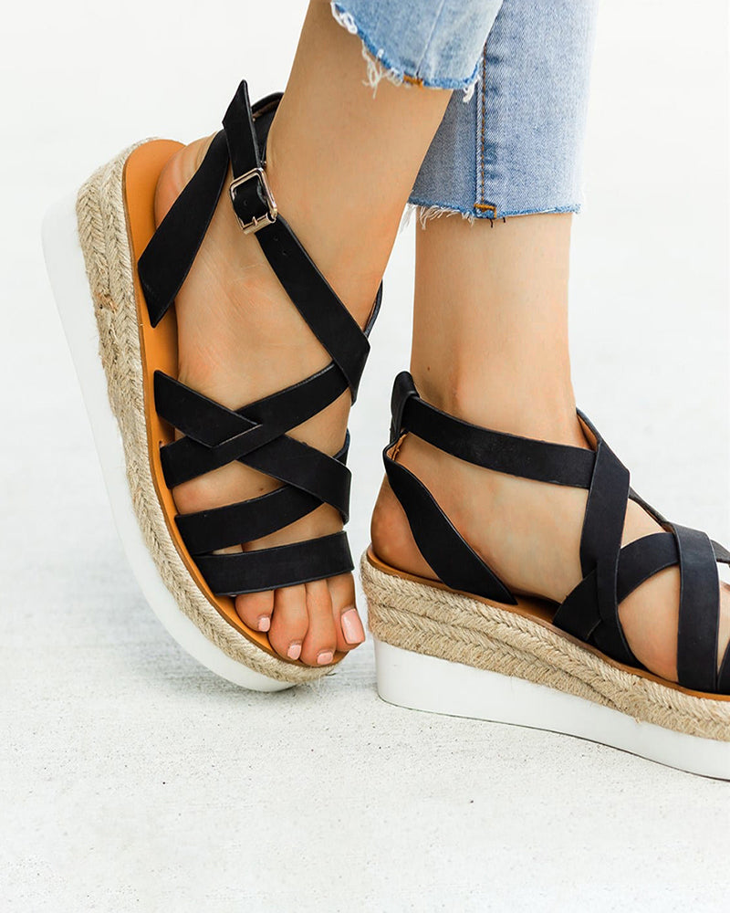 Mafulus Womens Strappy Ankle Strap Espadrilles Platform Sandals