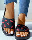 Mafulus Womens Cute Cherry Flats Slides