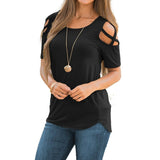 Mafulus Women Short Sleeve Strappy Cold Shoulder T-Shirt Tops Blouses