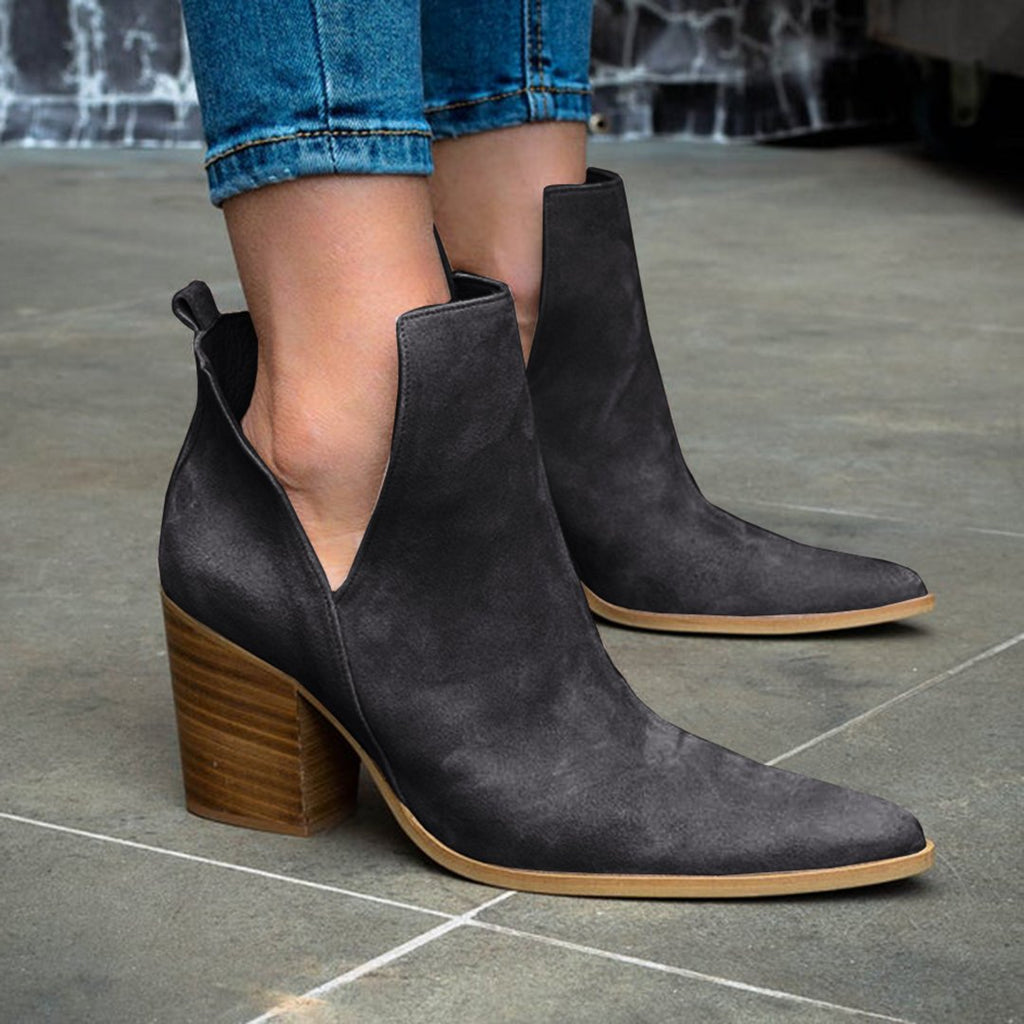 Cut Out Ankle Boots Pointed Toe Western Cowboy Booties - Mafulus
