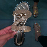 Mafulus Womens Rhinestone Bling Bling Slides Sandals
