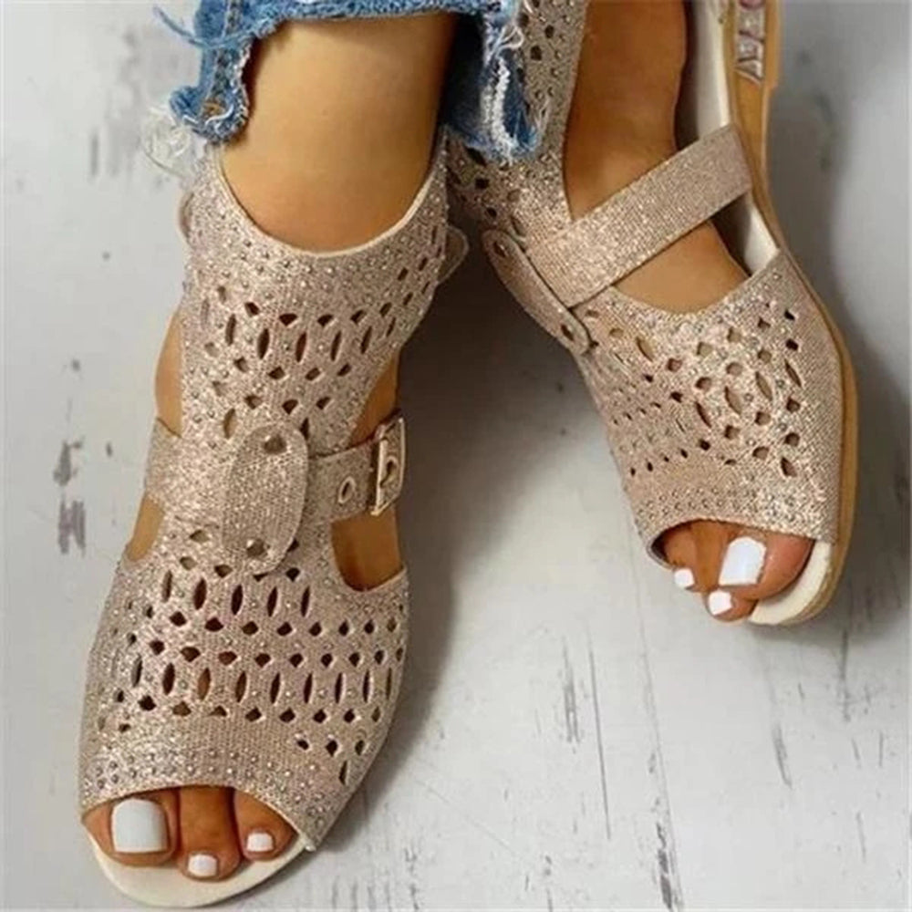 Mafulus Womens Studded Hollow Out Peep Toe Buckled Sandals