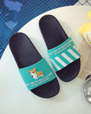 Mafulus Womens Bathroom Slippers Summer Couple Cartoon Bathroom Slides