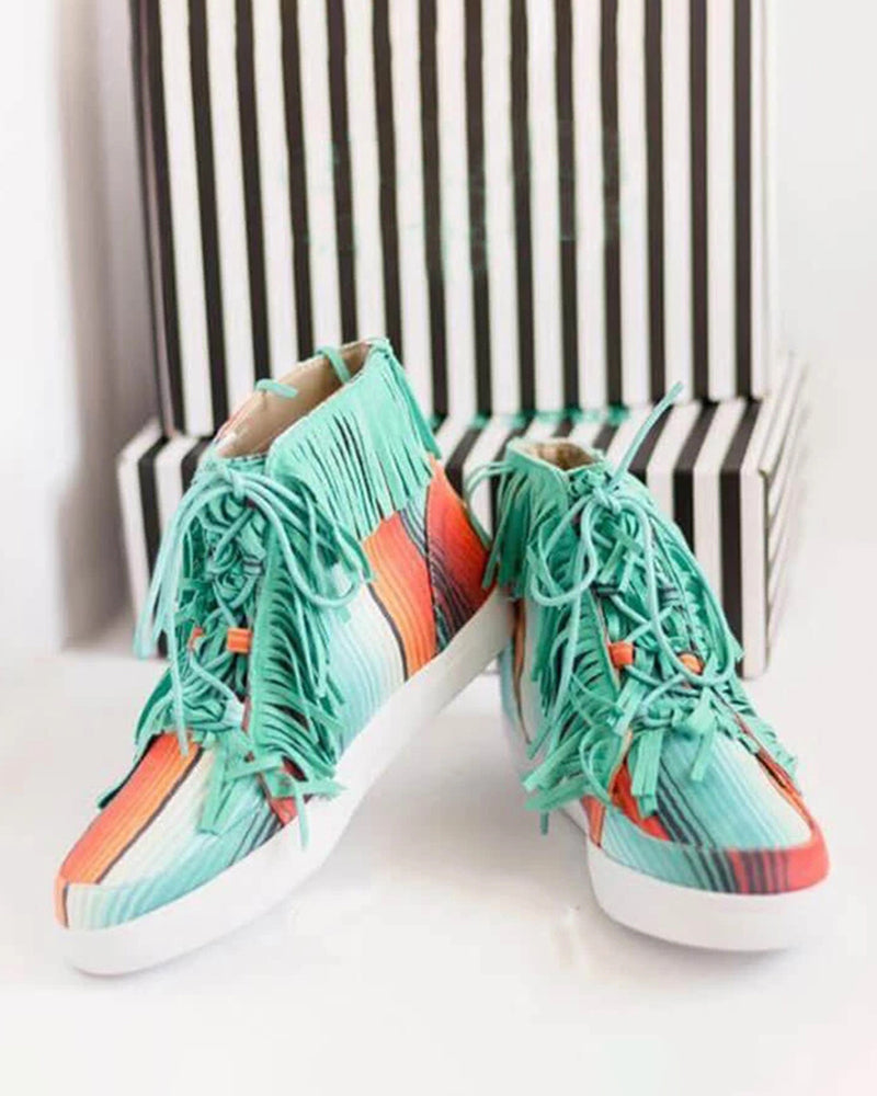 Mafulus Womens Tassel Lace Up High Top Fashion Sneakers