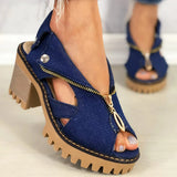 Mafulus Womens Denim Zipper Backless Chunky Heeled Sandals