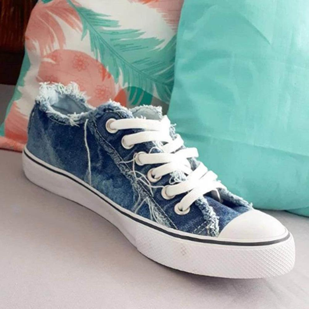 Mafulus Womens Lace up Low Top Ripped Denim Sneakers
