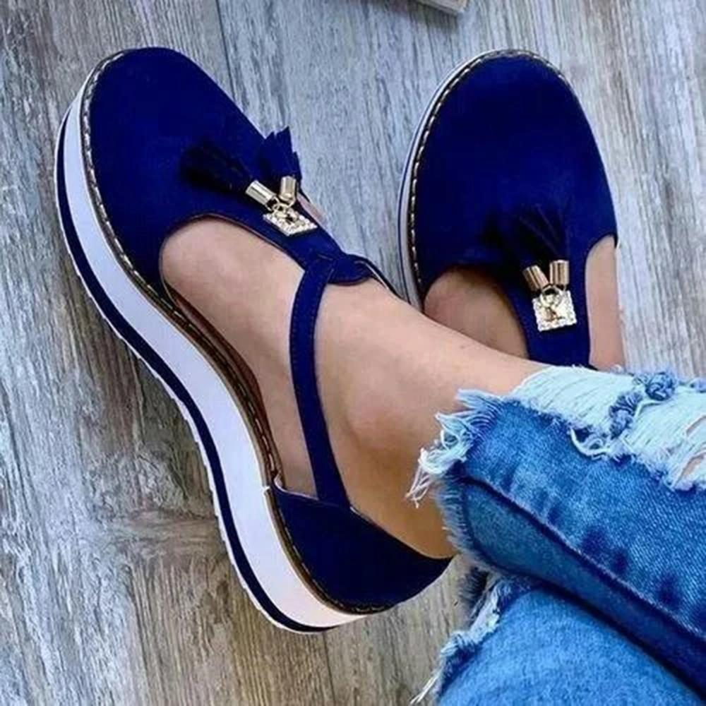 Mafulus Womens Cutout Tassel Plarform Loafers