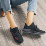 Mafulus Breathable Lace-up Letter Print Comfy Sneakers
