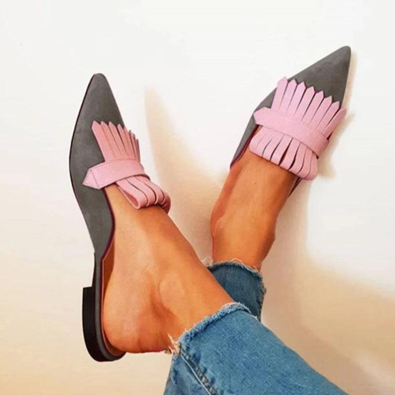 Mafulus Pointed Toe Flat Mules Slingback Sandals