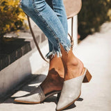 Mafulus Mules Loafer Backless Low Heel Sandals