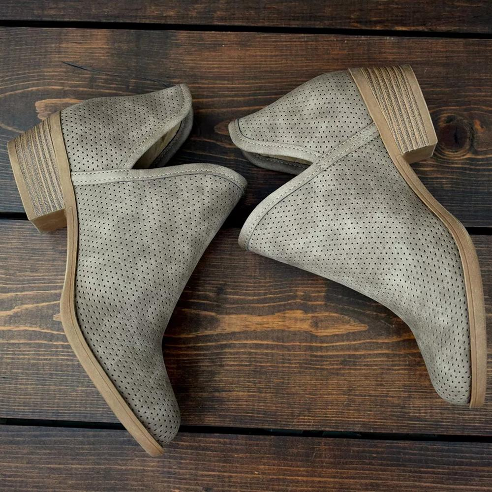 Mafulus Cut Out Perforated Ankle Booties
