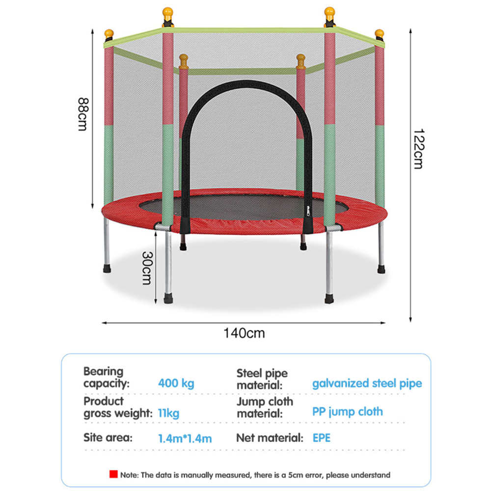 Mafulus 55-Inch Kids Trampoline with Enclosure Net Jumping Mat and Spring Cover Padding Indoor Outdoor Yard Trampolines for Children