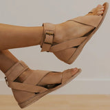 Mafulus Womens Open Toe Ankle Strap Buckle Flat Sandals