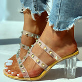 Mafulus Womens Rivet Heeled Sandals Summer Beach Slides