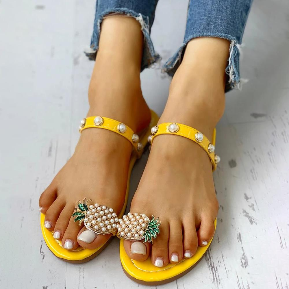 Mafulus Womens Pineapple Rhinestone Slip-on Slide Sandals