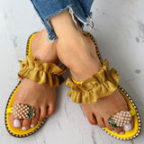 Mafulus Pineapple Rhinestone Slip-on Slide Sandals
