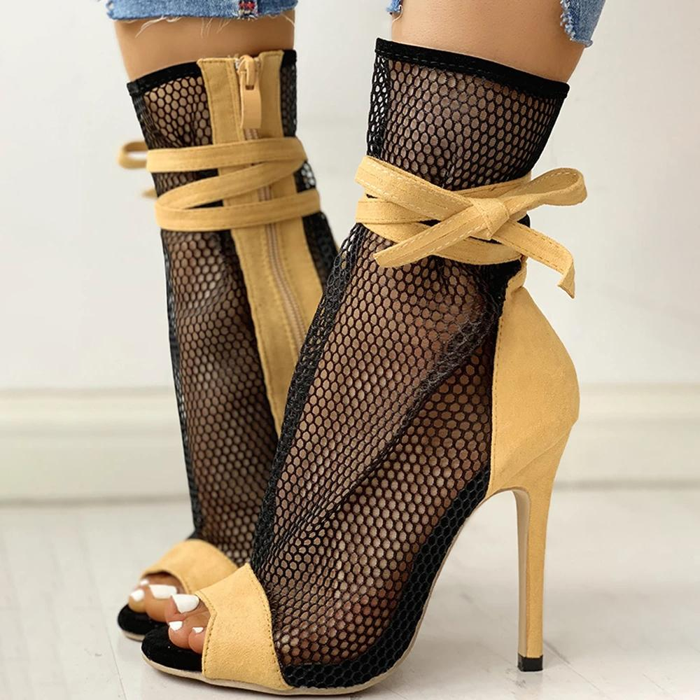 Mafulus Women Open Toe Mesh High Heel Sandals