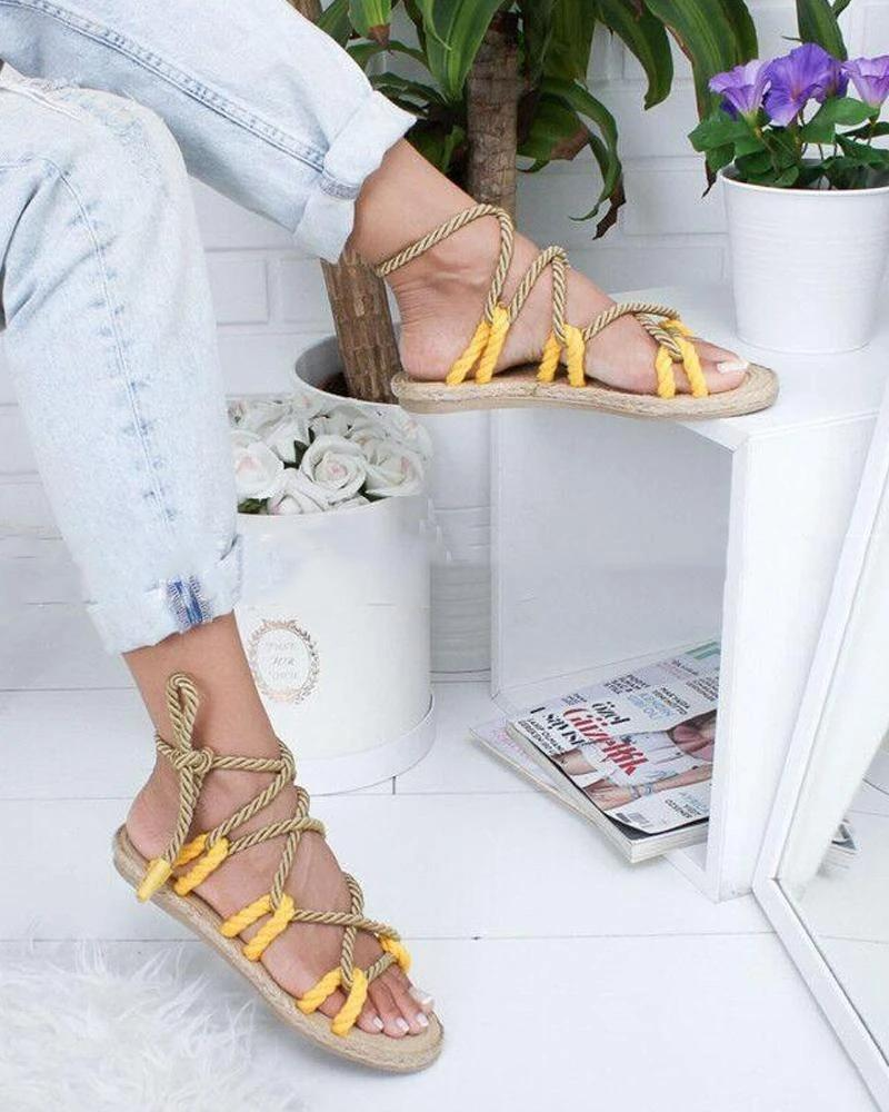 Mafulus Womens Open Toe Strappy Lace Up Rope Flat Sandals