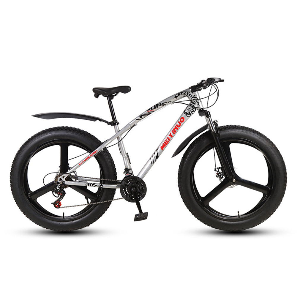 Mafulus Mountain Bikes, 26 Inch Fat Tire Hardtail Mountain Bike, Dual Suspension Frame and Suspension Fork All Terrain Mountain Bike