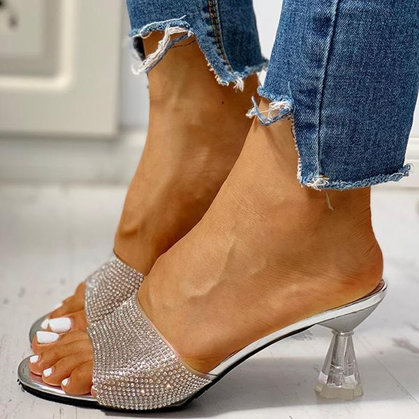 Mafulus Womens Glitter Sparkly Open Toe Thin Heels Mules Sandals