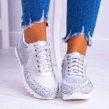 Mafulus Womens Snakeskin Lace Up Low Top Studded Fashion Sneakers