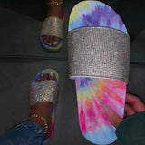 Mafulus Womens Coloblock Sparkly Slide Sandals