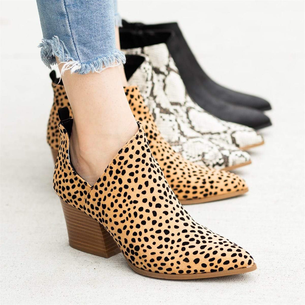 Womens Pointed Toe Ankle Boots Leopard Stacked Block Heel Booties - Mafulus