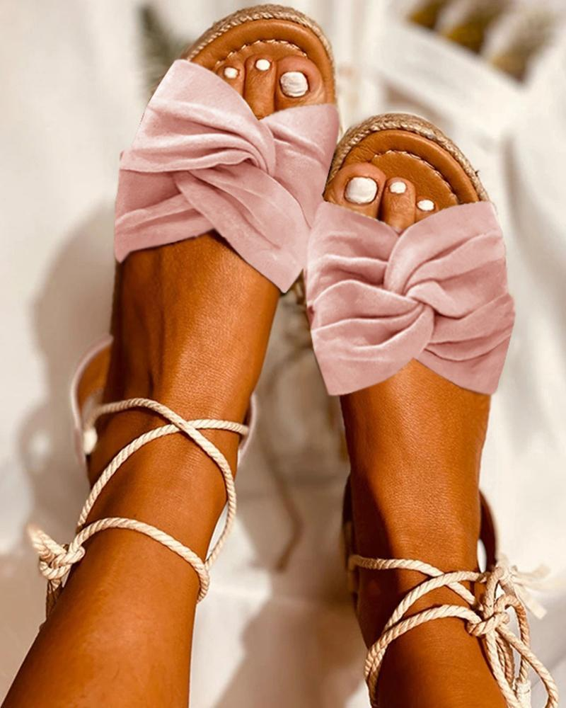 Mafulus Tassel Bow-tie Lace-up Slingback Sandals