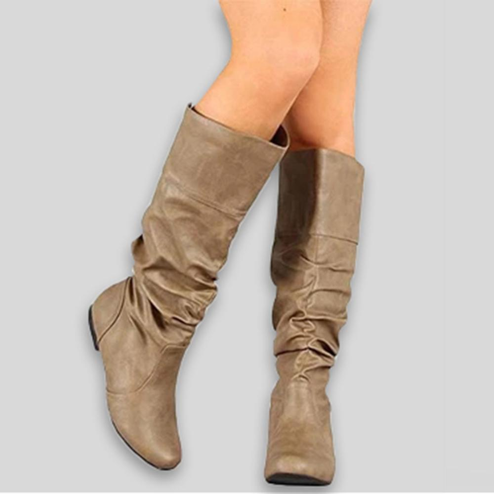 Wide Calf Slouchy Knee High Flat Boots