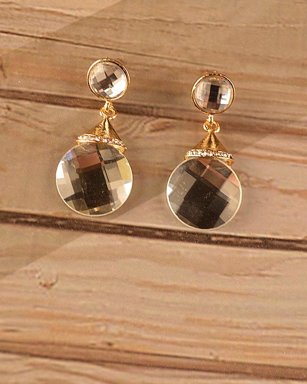Round Crystal Drop Earrings-SamiraBoutique