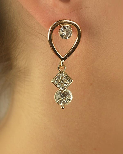 Teardrop Dangler Earring with Rhinestone Accents-SamiraBoutique