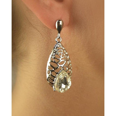 Carved Teardrop Earring with Teardrop Rhinestone Accent-SamiraBoutique