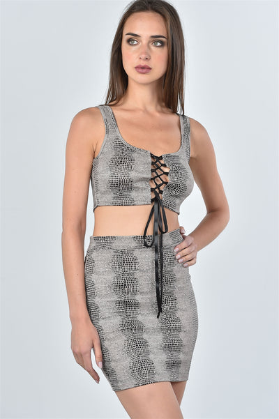Ladies fashion taupe snake print lace up crop top and mini skirt two piece set-SamiraBoutique